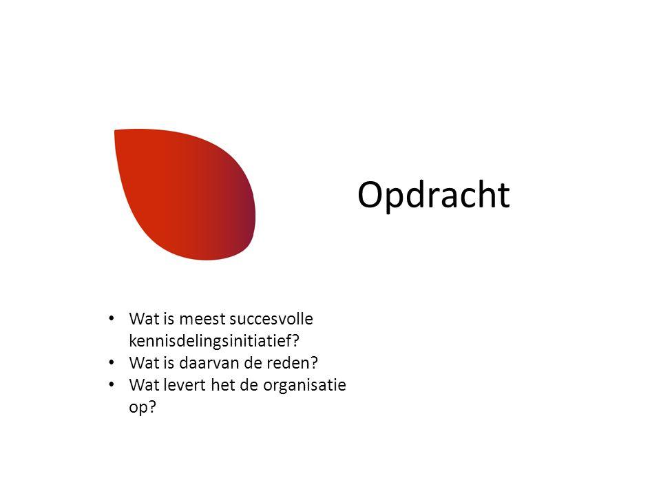 Opdracht Wat is meest succesvolle kennisdelingsinitiatief? Wat is daarvan de reden? Wat levert het de organisatie op?