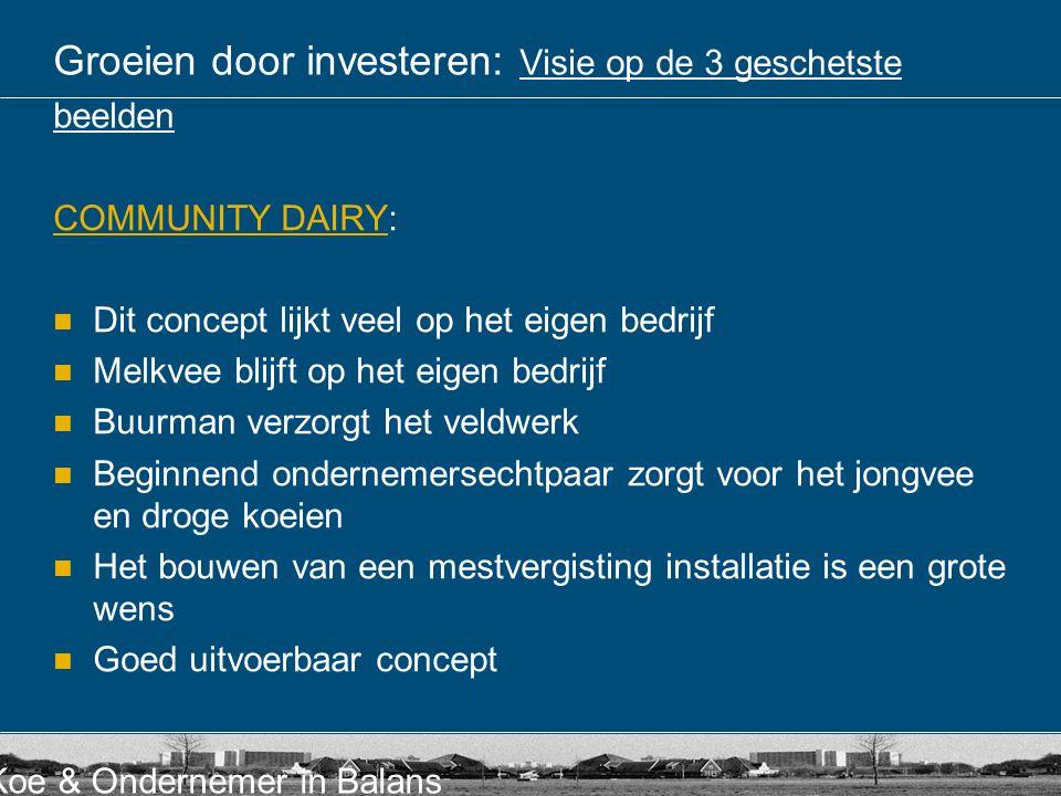 Koe & Ondernemer in Balans Groeien door investeren: Visie op de 3 geschetste beelden COMMUNITY DAIRYCOMMUNITY DAIRY: Dit concept lijkt veel op het eig