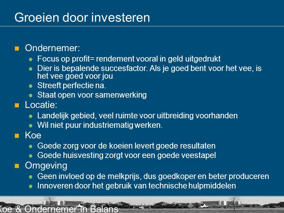 Koe & Ondernemer in Balans Groeien door investeren Ondernemer: Focus op profit= rendement vooral in geld uitgedrukt Dier is bepalende succesfactor.