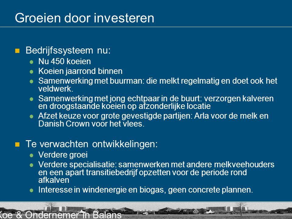 Koe & Ondernemer in Balans Groeien door investeren Bedrijfssysteem nu: Nu 450 koeien Koeien jaarrond binnen Samenwerking met buurman: die melkt regelmatig en doet ook het veldwerk.
