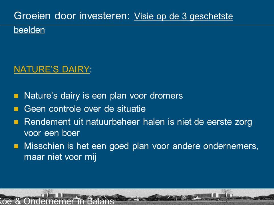 Koe & Ondernemer in Balans Groeien door investeren: Visie op de 3 geschetste beelden NATURE'S DAIRYNATURE'S DAIRY: Nature's dairy is een plan voor dro