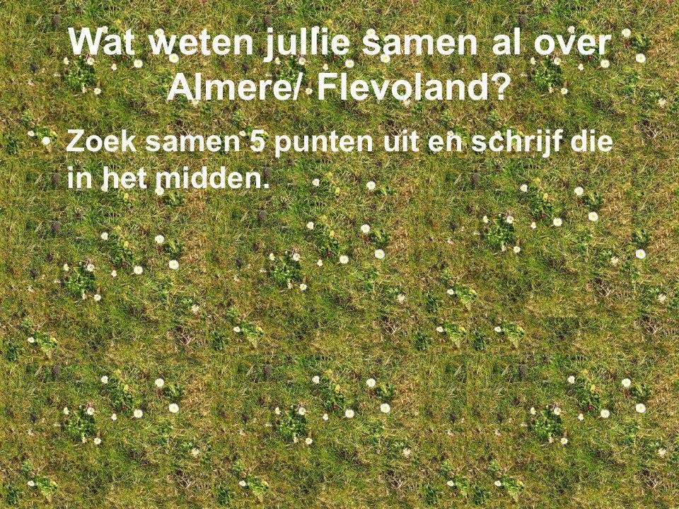 Wat weten jullie samen al over Almere/ Flevoland? Zoek samen 5 punten uit en schrijf die in het midden.