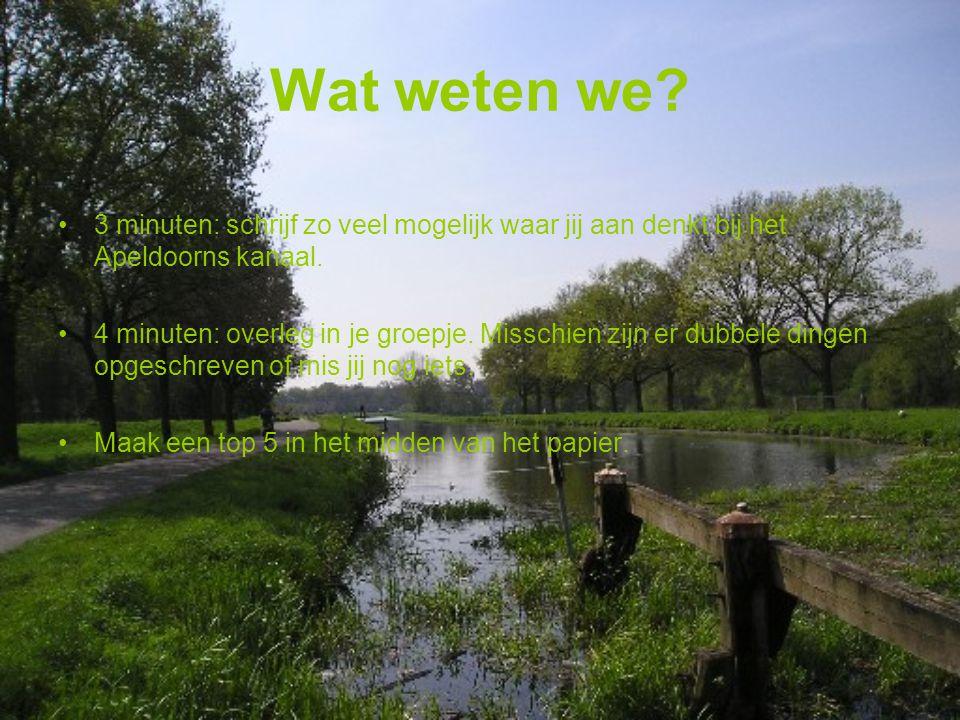 Wat weten we. 3 minuten: schrijf zo veel mogelijk waar jij aan denkt bij het Apeldoorns kanaal.
