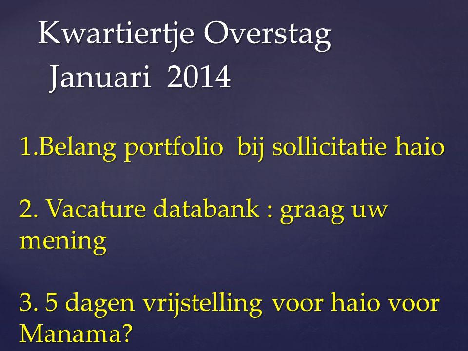 1.Belang portfolio bij sollicitatie haio 2. Vacature databank : graag uw mening 3. 5 dagen vrijstelling voor haio voor Manama? Kwartiertje Overstag Ja