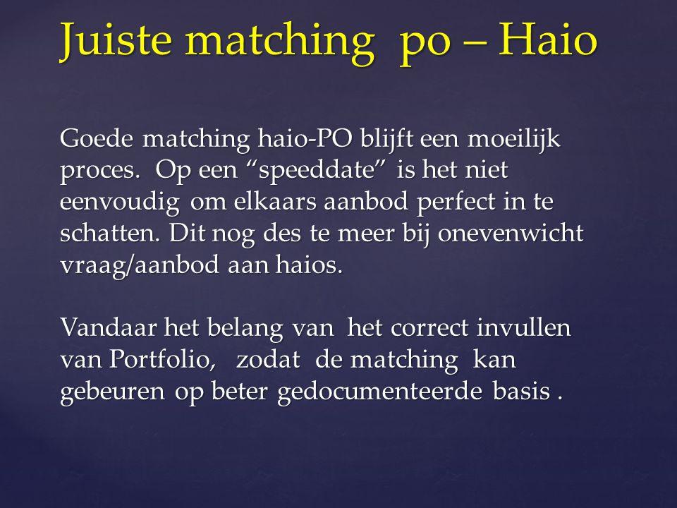 """Juiste matching po – Haio Goede matching haio-PO blijft een moeilijk proces. Op een """"speeddate"""" is het niet eenvoudig om elkaars aanbod perfect in te"""