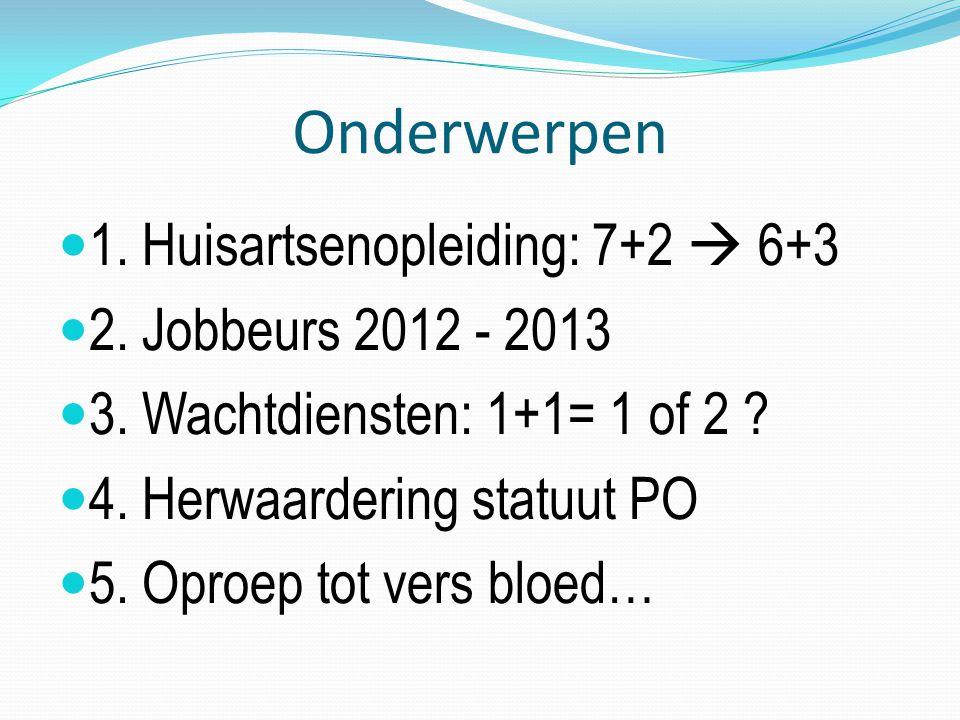 Onderwerpen 1. Huisartsenopleiding: 7+2  6+3 2. Jobbeurs 2012 - 2013 3.