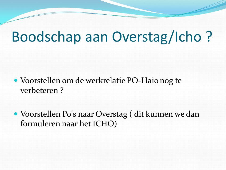 Boodschap aan Overstag/Icho . Voorstellen om de werkrelatie PO-Haio nog te verbeteren .