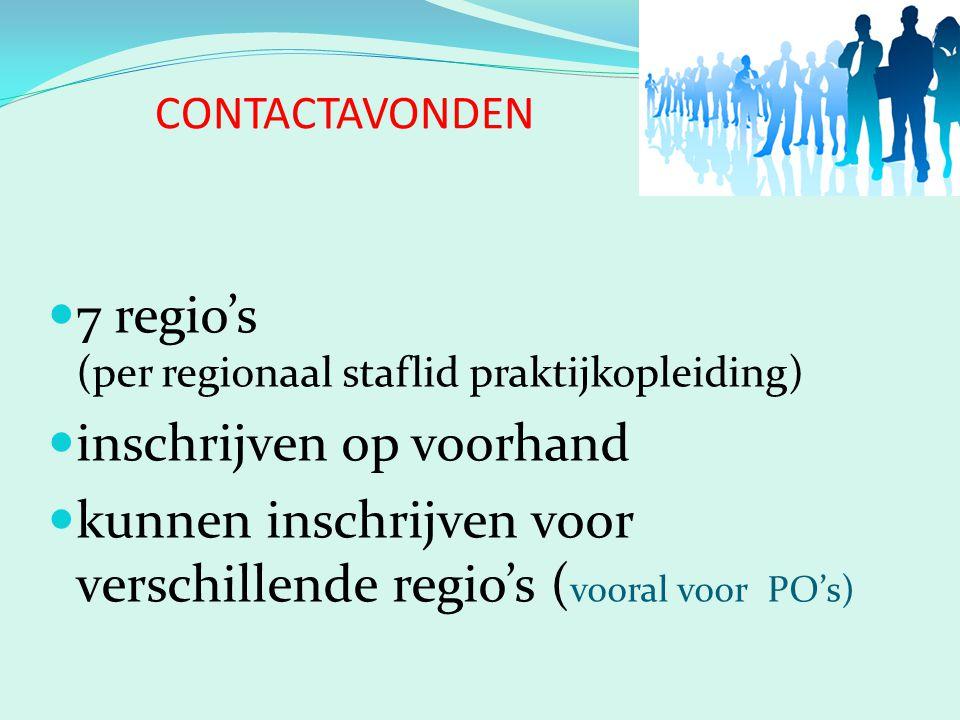 CONTACTAVONDEN 7 regio's (per regionaal staflid praktijkopleiding) inschrijven op voorhand kunnen inschrijven voor verschillende regio's ( vooral voor PO's)