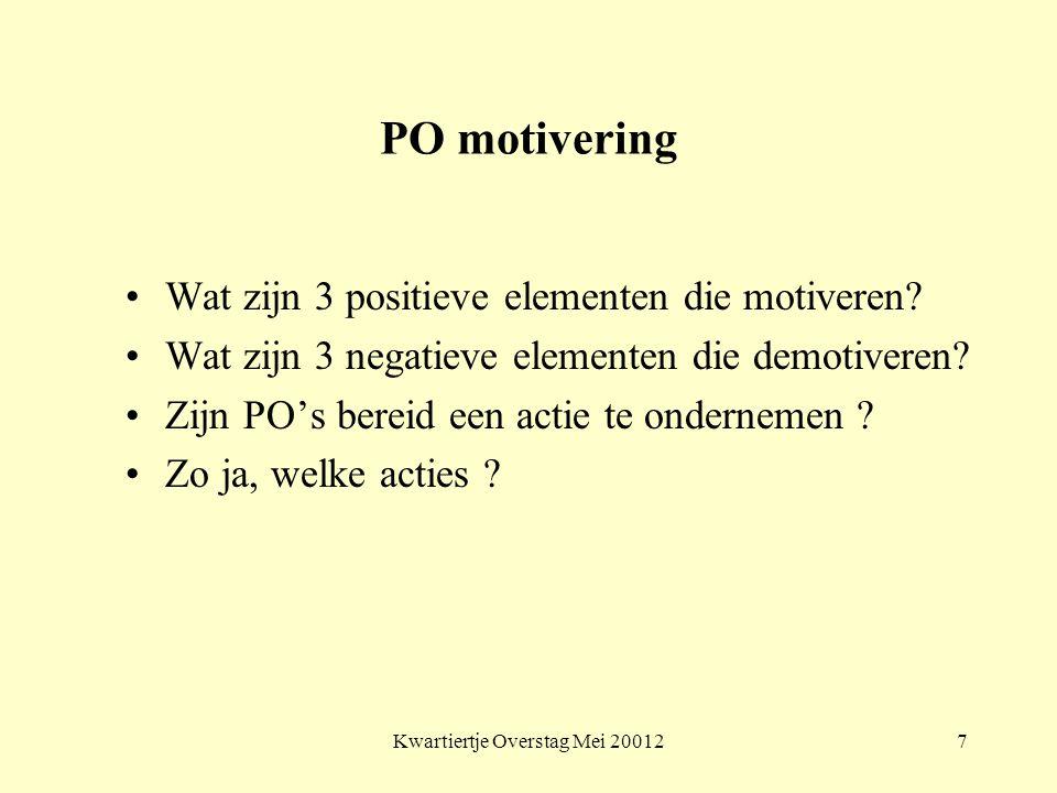 Kwartiertje Overstag Mei 200127 PO motivering Wat zijn 3 positieve elementen die motiveren? Wat zijn 3 negatieve elementen die demotiveren? Zijn PO's