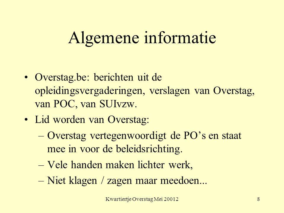 Algemene informatie Overstag.be: berichten uit de opleidingsvergaderingen, verslagen van Overstag, van POC, van SUIvzw.