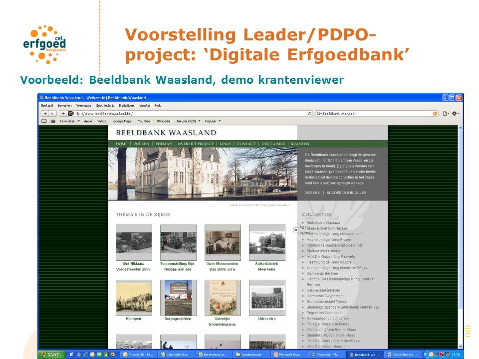 Voorstelling Leader/PDPO- project: 'Digitale Erfgoedbank' Voorbeeld: Beeldbank Waasland, demo krantenviewer