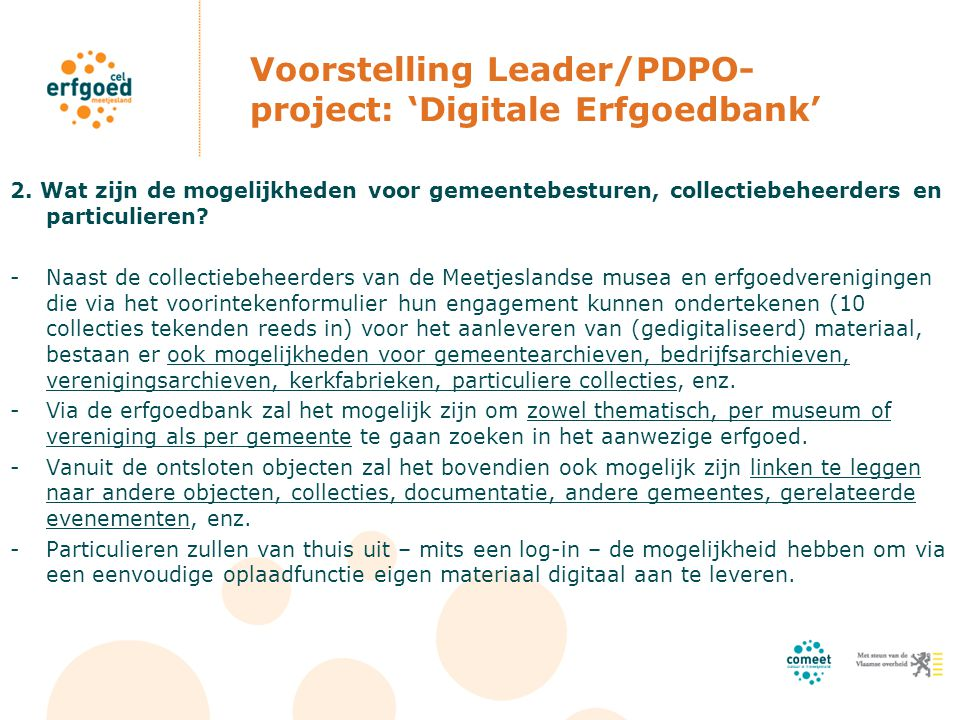 Voorstelling Leader/PDPO- project: 'Digitale Erfgoedbank' 2.