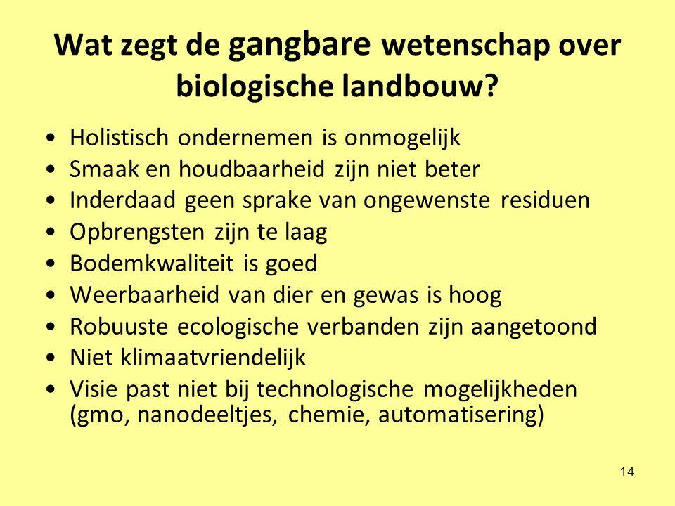 14 Wat zegt de gangbare wetenschap over biologische landbouw.