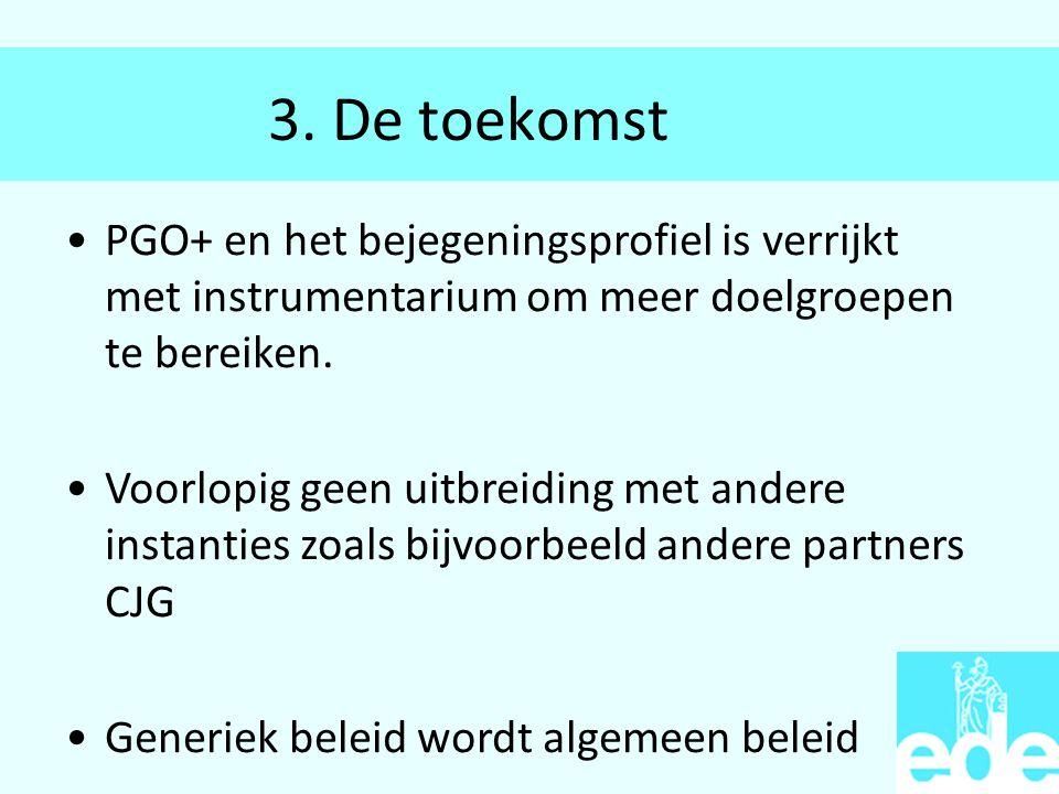 3. De toekomst PGO+ en het bejegeningsprofiel is verrijkt met instrumentarium om meer doelgroepen te bereiken. Voorlopig geen uitbreiding met andere i