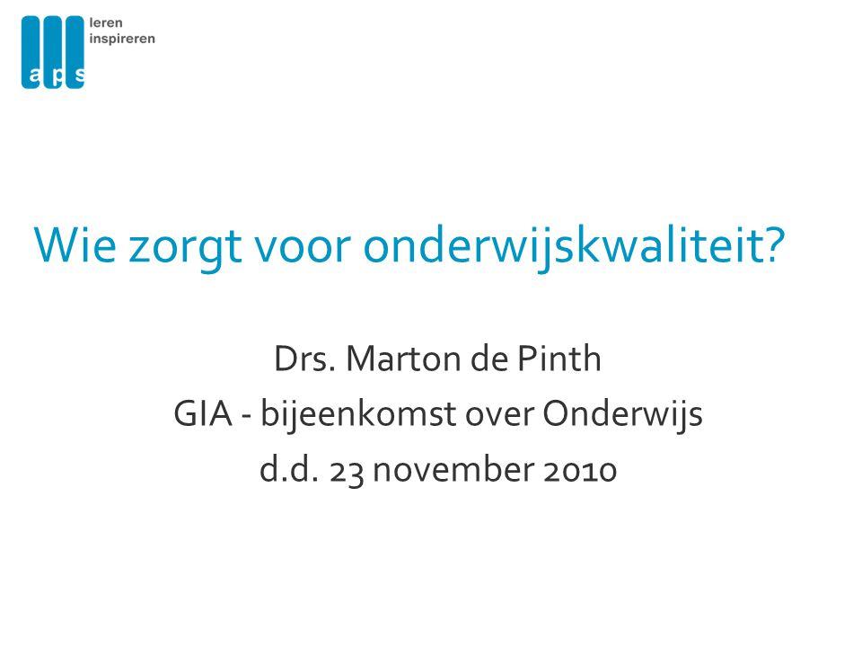 Drs.Marton de Pinth GIA - bijeenkomst over Onderwijs d.d.