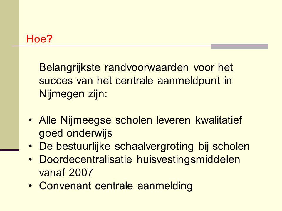 Hoe? Belangrijkste randvoorwaarden voor het succes van het centrale aanmeldpunt in Nijmegen zijn: Alle Nijmeegse scholen leveren kwalitatief goed onde