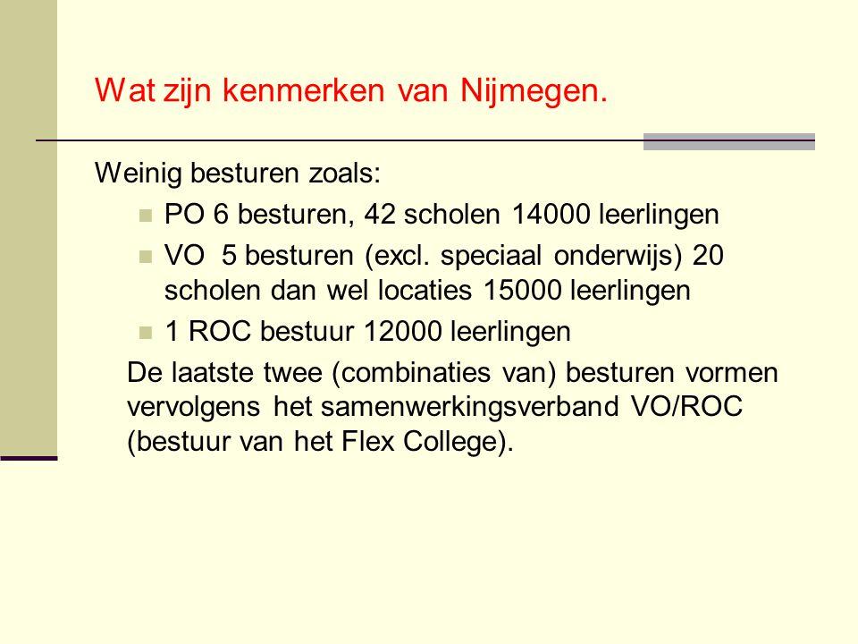 Wat zijn kenmerken van Nijmegen. Weinig besturen zoals: PO 6 besturen, 42 scholen 14000 leerlingen VO 5 besturen (excl. speciaal onderwijs) 20 scholen