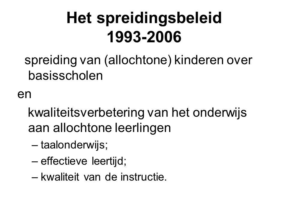 Het spreidingsbeleid 1993-2006 spreiding van (allochtone) kinderen over basisscholen en kwaliteitsverbetering van het onderwijs aan allochtone leerlingen –taalonderwijs; –effectieve leertijd; –kwaliteit van de instructie.