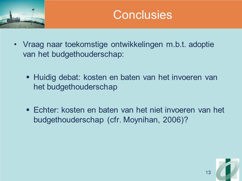 13 Conclusies Vraag naar toekomstige ontwikkelingen m.b.t.