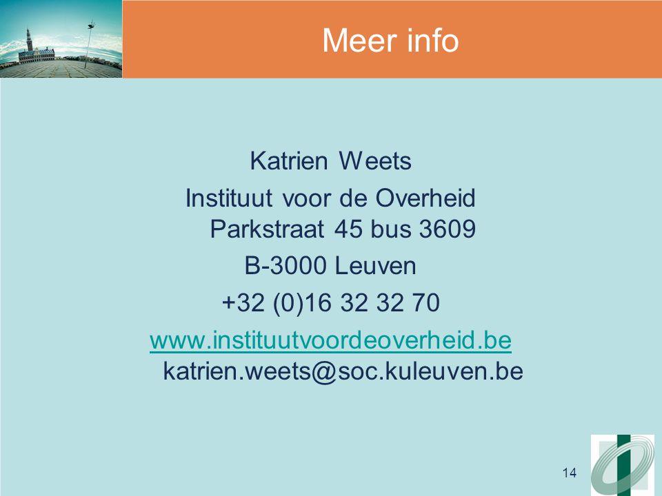 14 Meer info Katrien Weets Instituut voor de Overheid Parkstraat 45 bus 3609 B-3000 Leuven +32 (0)16 32 32 70 www.instituutvoordeoverheid.be www.instituutvoordeoverheid.be katrien.weets@soc.kuleuven.be