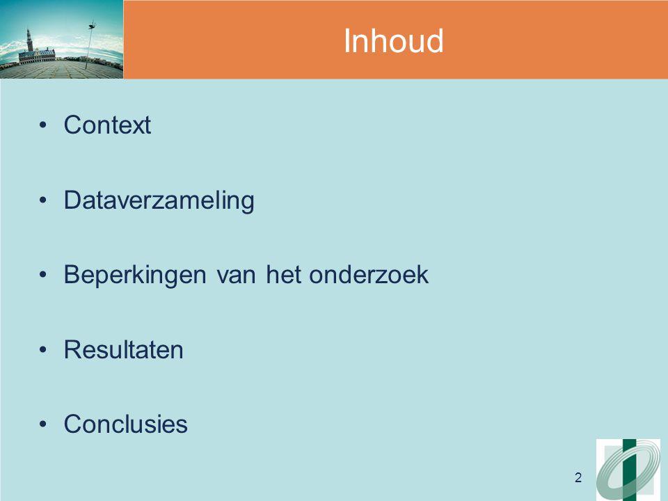 2 Inhoud Context Dataverzameling Beperkingen van het onderzoek Resultaten Conclusies