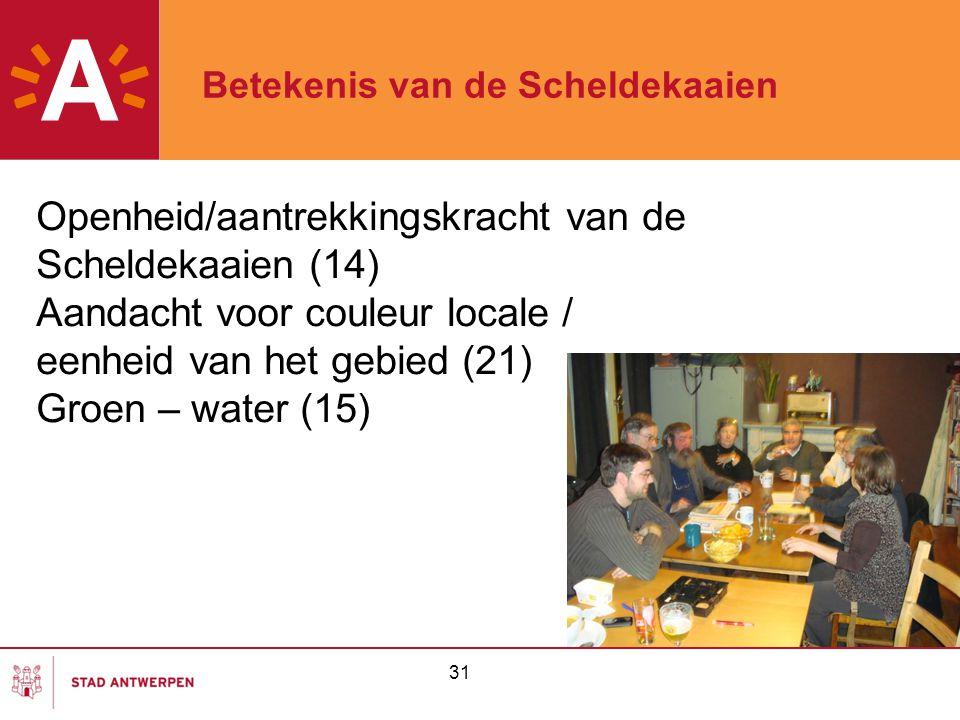 31 Betekenis van de Scheldekaaien Openheid/aantrekkingskracht van de Scheldekaaien (14) Aandacht voor couleur locale / eenheid van het gebied (21) Groen – water (15)