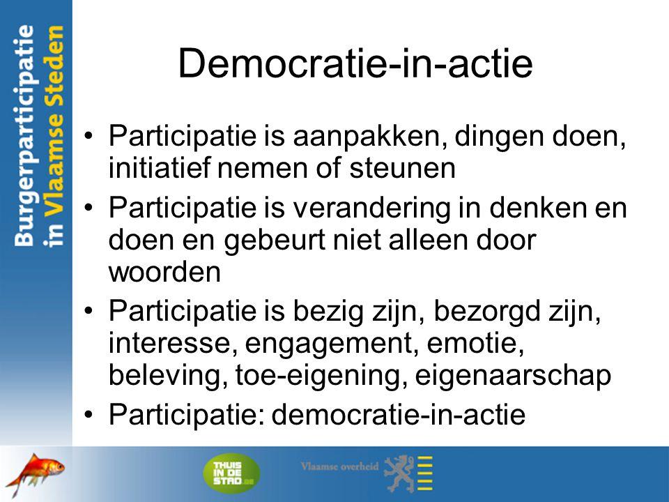 Democratie-in-actie Participatie is aanpakken, dingen doen, initiatief nemen of steunen Participatie is verandering in denken en doen en gebeurt niet