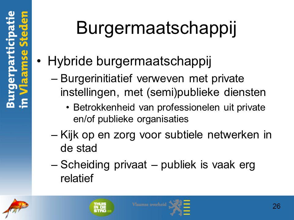26 Burgermaatschappij Hybride burgermaatschappij –Burgerinitiatief verweven met private instellingen, met (semi)publieke diensten Betrokkenheid van pr