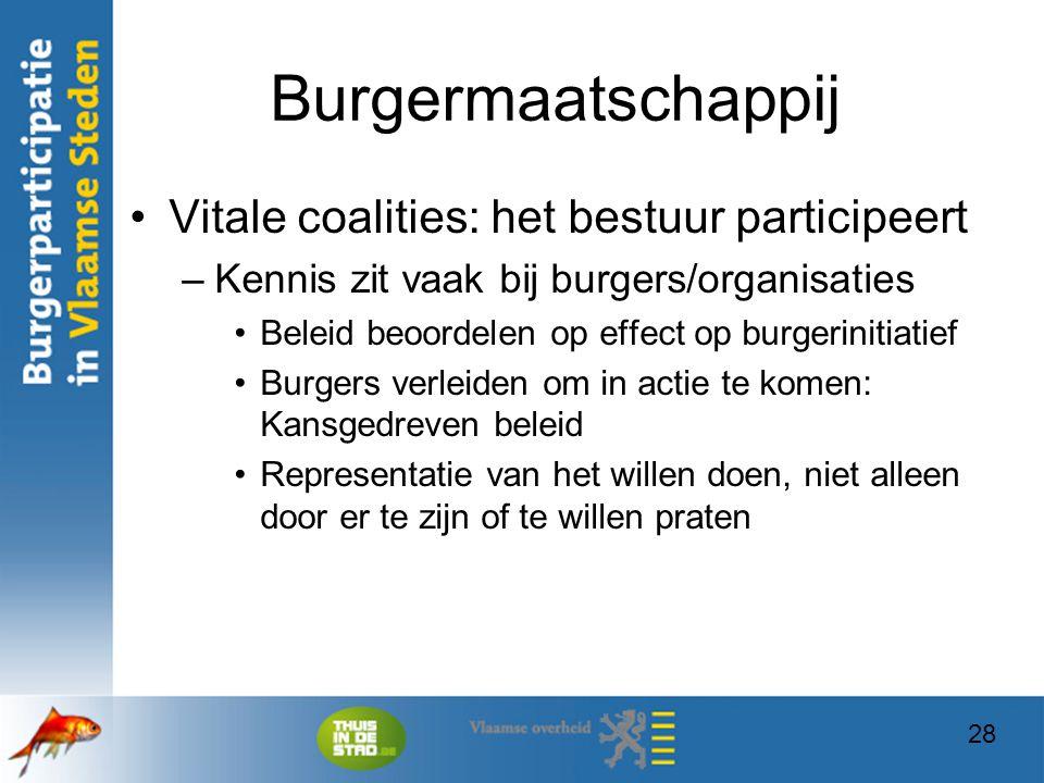 28 Burgermaatschappij Vitale coalities: het bestuur participeert –Kennis zit vaak bij burgers/organisaties Beleid beoordelen op effect op burgerinitia