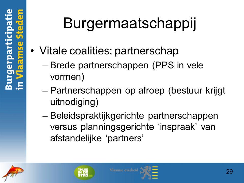 29 Burgermaatschappij Vitale coalities: partnerschap –Brede partnerschappen (PPS in vele vormen) –Partnerschappen op afroep (bestuur krijgt uitnodigin