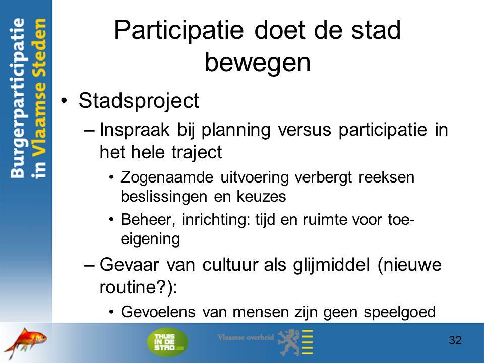 32 Participatie doet de stad bewegen Stadsproject –Inspraak bij planning versus participatie in het hele traject Zogenaamde uitvoering verbergt reekse
