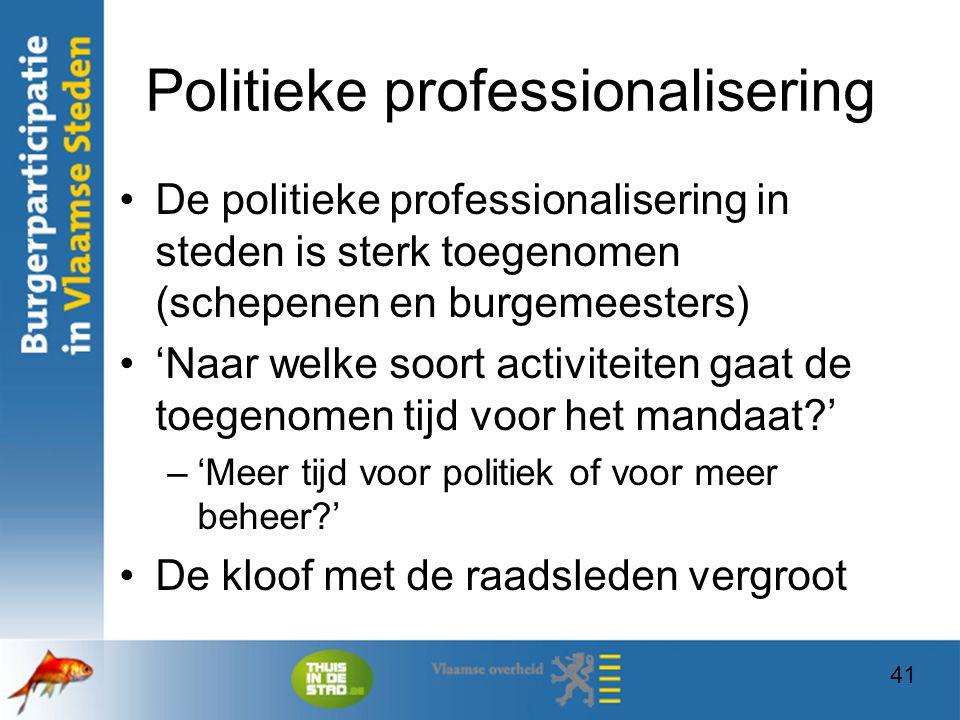 41 Politieke professionalisering De politieke professionalisering in steden is sterk toegenomen (schepenen en burgemeesters) 'Naar welke soort activit