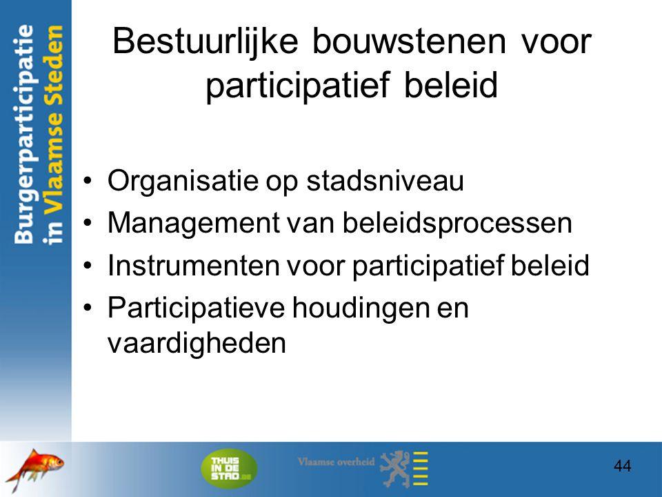 44 Bestuurlijke bouwstenen voor participatief beleid Organisatie op stadsniveau Management van beleidsprocessen Instrumenten voor participatief beleid