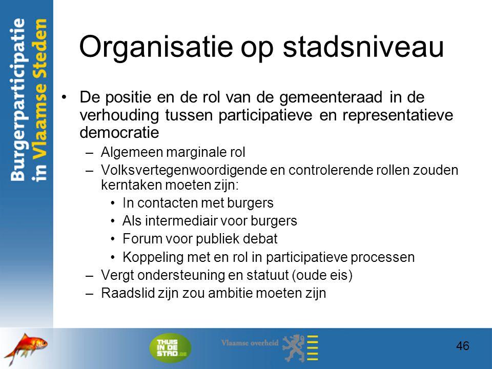 46 Organisatie op stadsniveau De positie en de rol van de gemeenteraad in de verhouding tussen participatieve en representatieve democratie –Algemeen