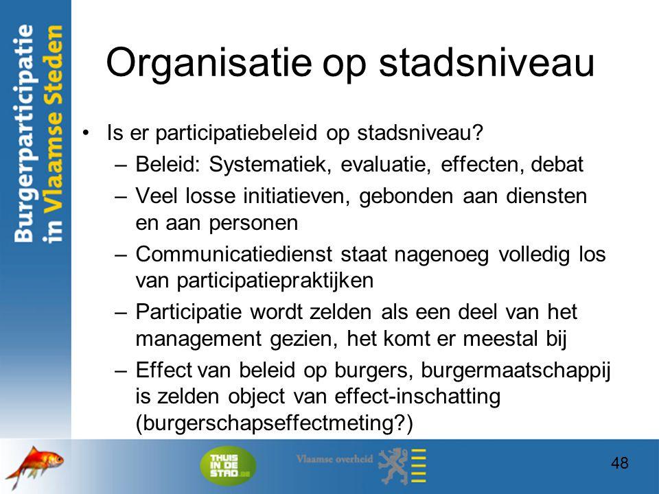 48 Organisatie op stadsniveau Is er participatiebeleid op stadsniveau? –Beleid: Systematiek, evaluatie, effecten, debat –Veel losse initiatieven, gebo