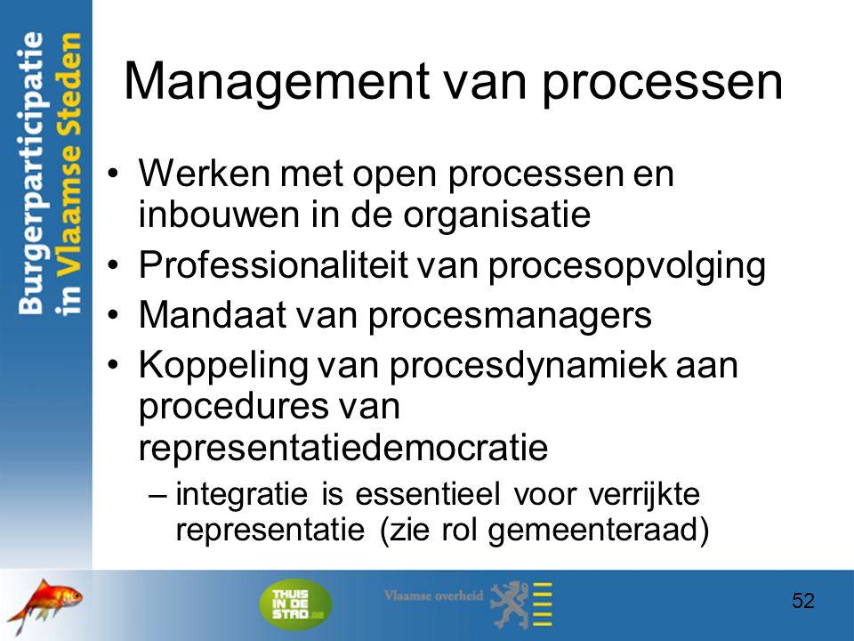 52 Management van processen Werken met open processen en inbouwen in de organisatie Professionaliteit van procesopvolging Mandaat van procesmanagers K