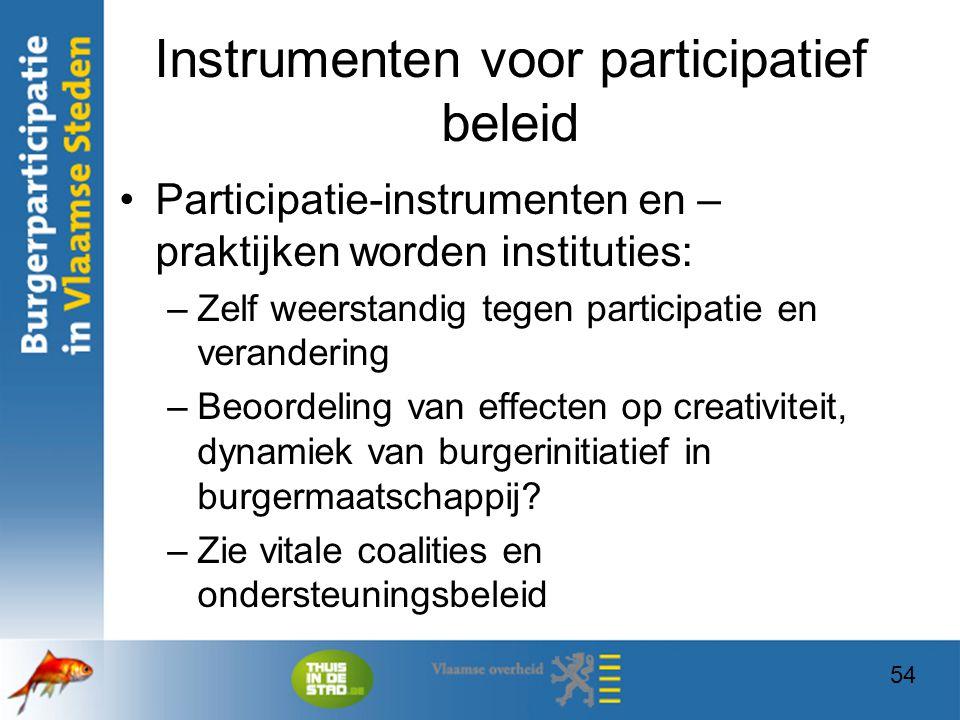 54 Instrumenten voor participatief beleid Participatie-instrumenten en – praktijken worden instituties: –Zelf weerstandig tegen participatie en verand