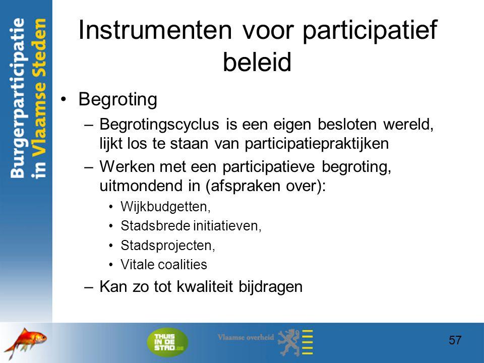 57 Instrumenten voor participatief beleid Begroting –Begrotingscyclus is een eigen besloten wereld, lijkt los te staan van participatiepraktijken –Wer