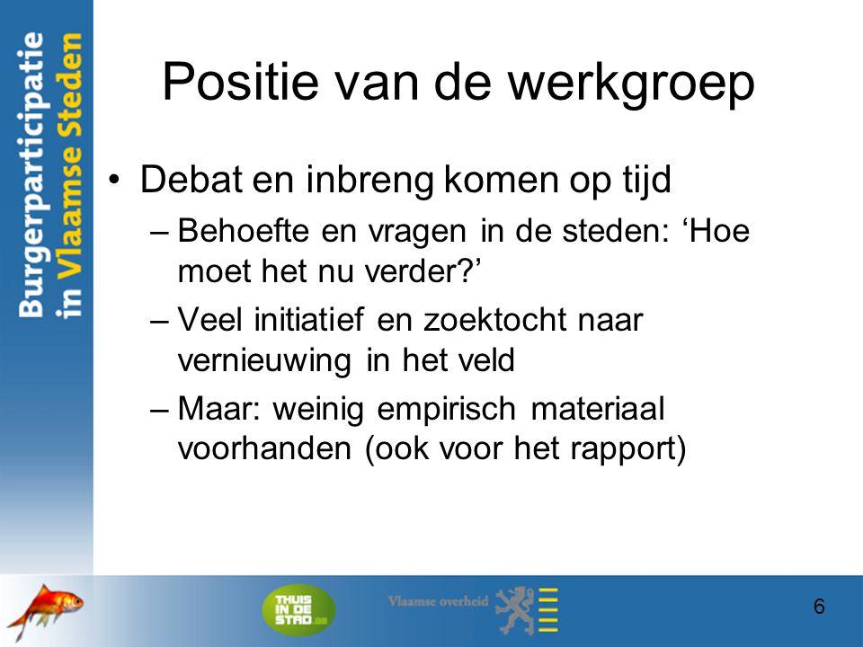 27 Burgermaatschappij Het stedelijk/Vlaams ondersteunings- beleid is onderdeel van het participatiebeleid –Is dat ondersteuningsbeleid aangepast aan de veranderde burgermaatschappij .