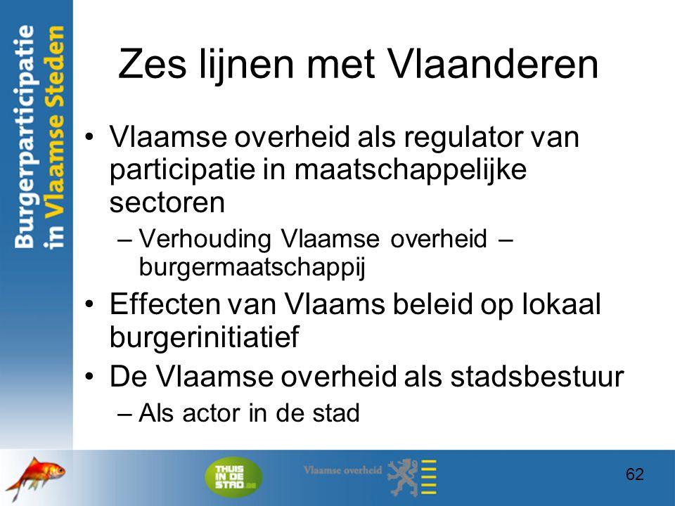 62 Zes lijnen met Vlaanderen Vlaamse overheid als regulator van participatie in maatschappelijke sectoren –Verhouding Vlaamse overheid – burgermaatsch