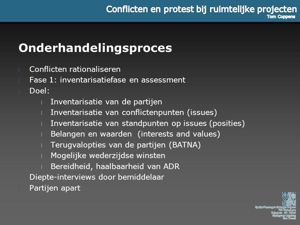 Onderhandelingsproces l Conflicten rationaliseren l Fase 1: inventarisatiefase en assessment l Doel: l Inventarisatie van de partijen l Inventarisatie