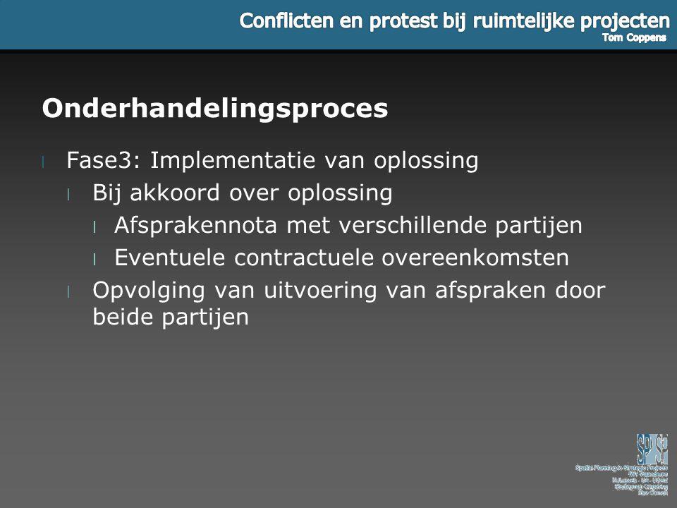 Onderhandelingsproces l Fase3: Implementatie van oplossing l Bij akkoord over oplossing l Afsprakennota met verschillende partijen l Eventuele contrac