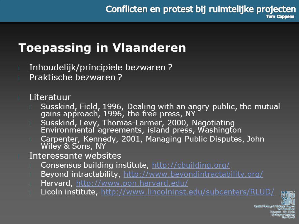 Toepassing in Vlaanderen l Inhoudelijk/principiele bezwaren ? l Praktische bezwaren ? l Literatuur l Susskind, Field, 1996, Dealing with an angry publ