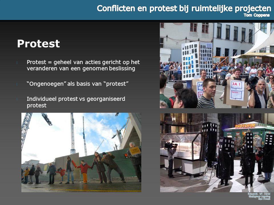"""Protest l Protest = geheel van acties gericht op het veranderen van een genomen beslissing l """"Ongenoegen"""" als basis van """"protest"""" l Individueel protes"""