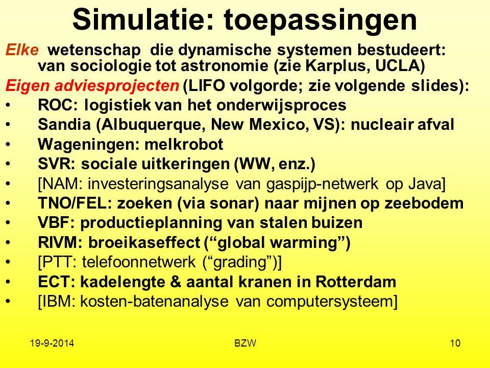 19-9-2014BZW10 Simulatie: toepassingen Elke wetenschap die dynamische systemen bestudeert: van sociologie tot astronomie (zie Karplus, UCLA) Eigen adv