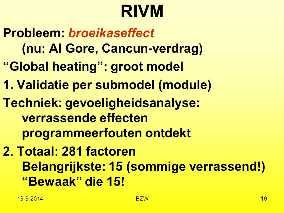 """19-9-2014BZW19 RIVM Probleem: broeikaseffect (nu: Al Gore, Cancun-verdrag) """"Global heating"""": groot model 1. Validatie per submodel (module) Techniek:"""