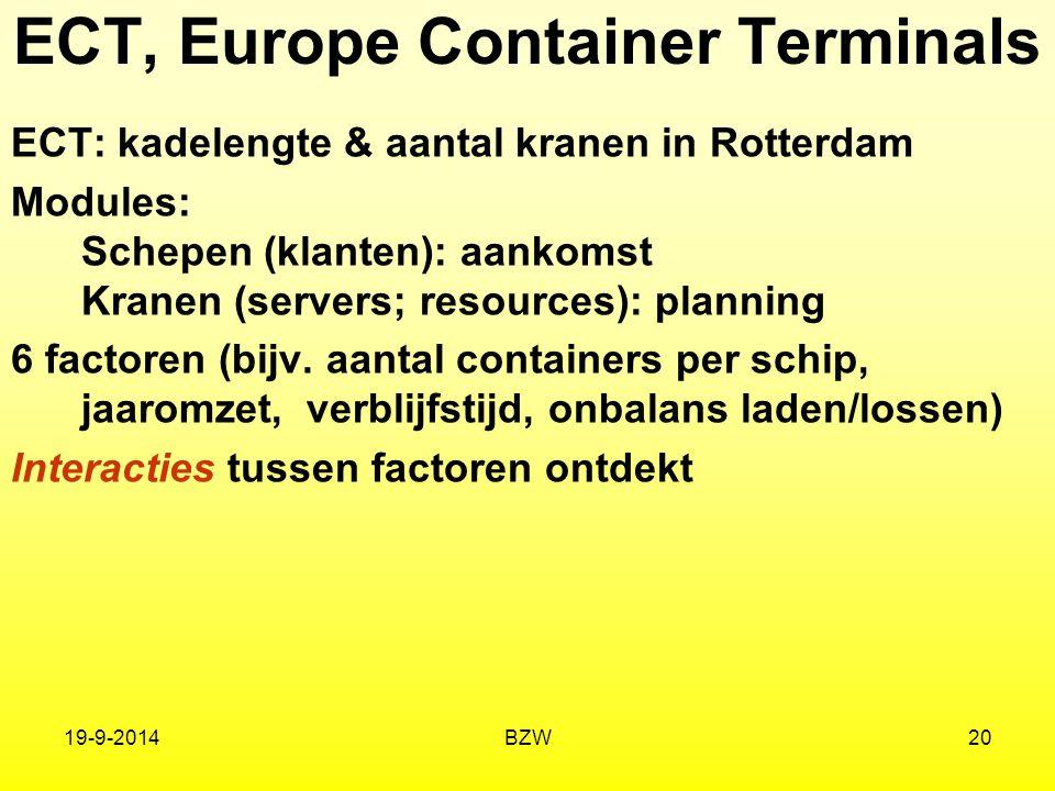 19-9-2014BZW20 ECT, Europe Container Terminals ECT: kadelengte & aantal kranen in Rotterdam Modules: Schepen (klanten): aankomst Kranen (servers; reso