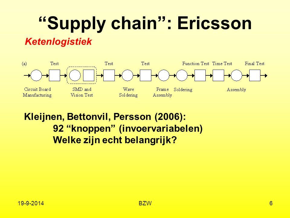 """19-9-2014BZW6 """"Supply chain"""": Ericsson Kleijnen, Bettonvil, Persson (2006): 92 """"knoppen"""" (invoervariabelen) Welke zijn echt belangrijk? Ketenlogistiek"""