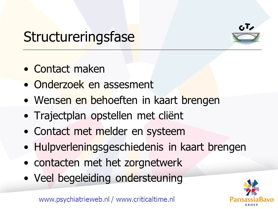 www.psychiatrieweb.nl / www.criticaltime.nl Structureringsfase Contact maken Onderzoek en assesment Wensen en behoeften in kaart brengen Trajectplan o