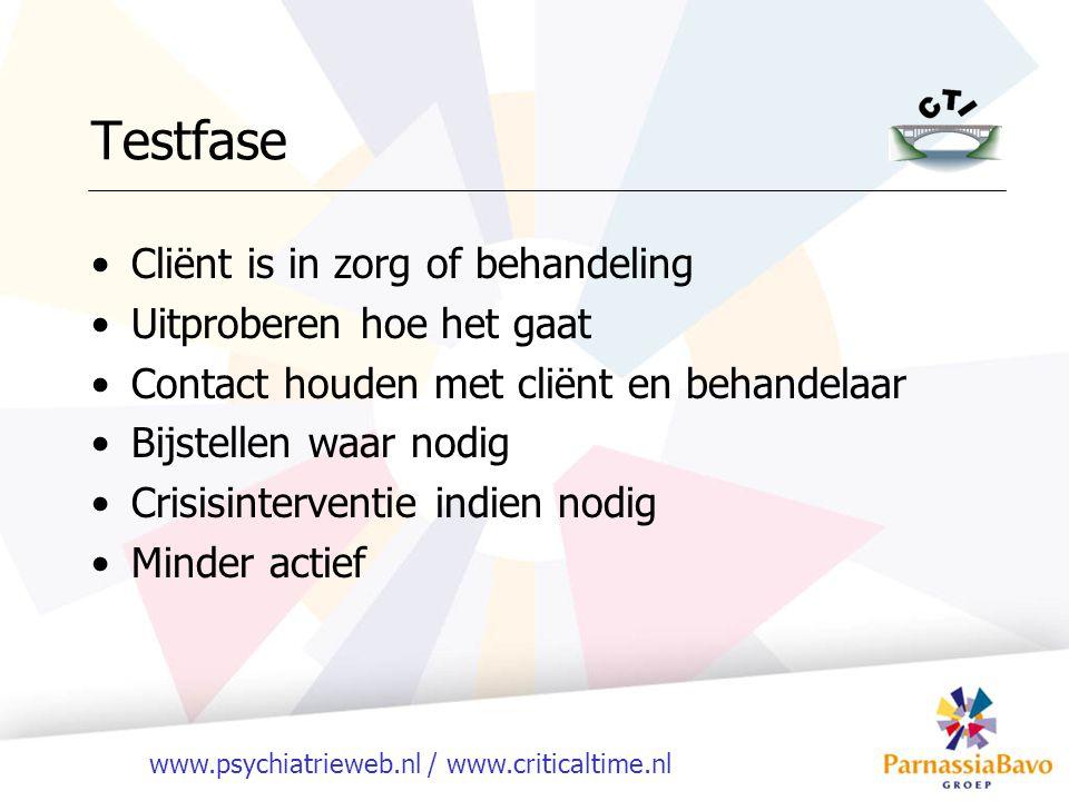 www.psychiatrieweb.nl / www.criticaltime.nl Testfase Cliënt is in zorg of behandeling Uitproberen hoe het gaat Contact houden met cliënt en behandelaa